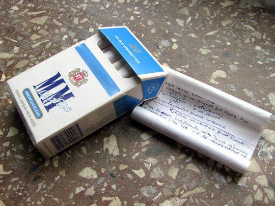 Сигаретная шпаргалка