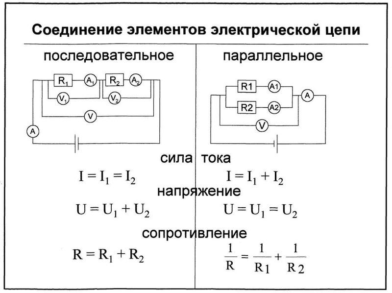 Способы соединения элементов электрической цепи