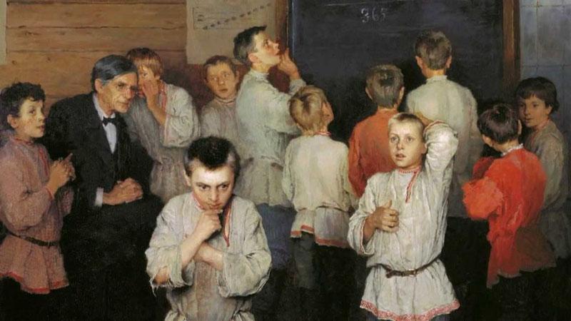 Картина Н.П. Богданова-Бельского «Устный счёт. В народной школе С. А. Рачинского»