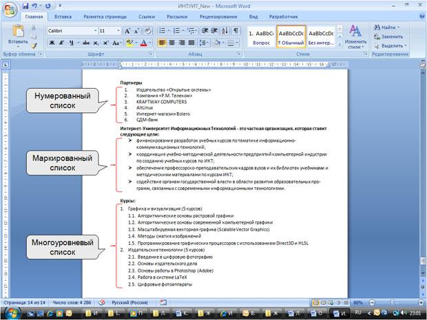 как оформлять списки в дипломе