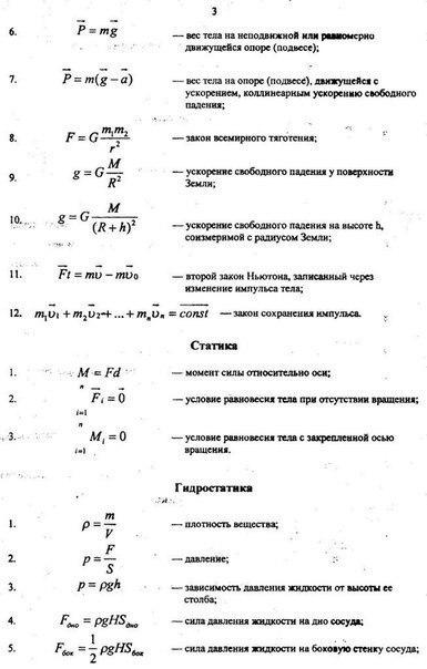 основные физические формулы, статика