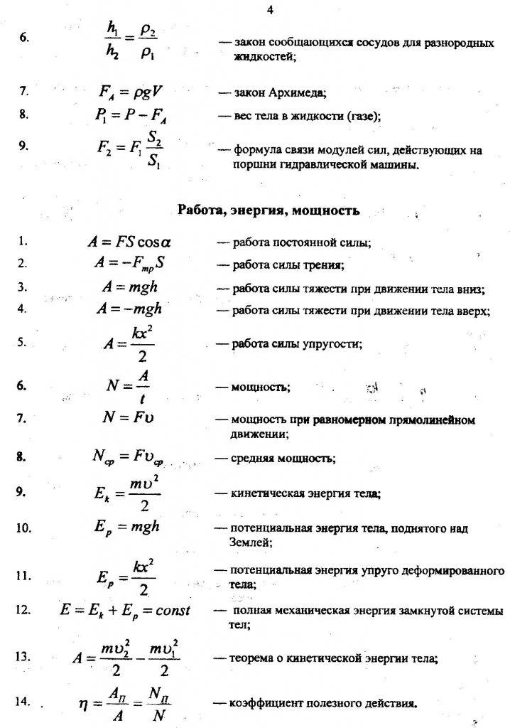 основные формулы по физике с объяснением, механика