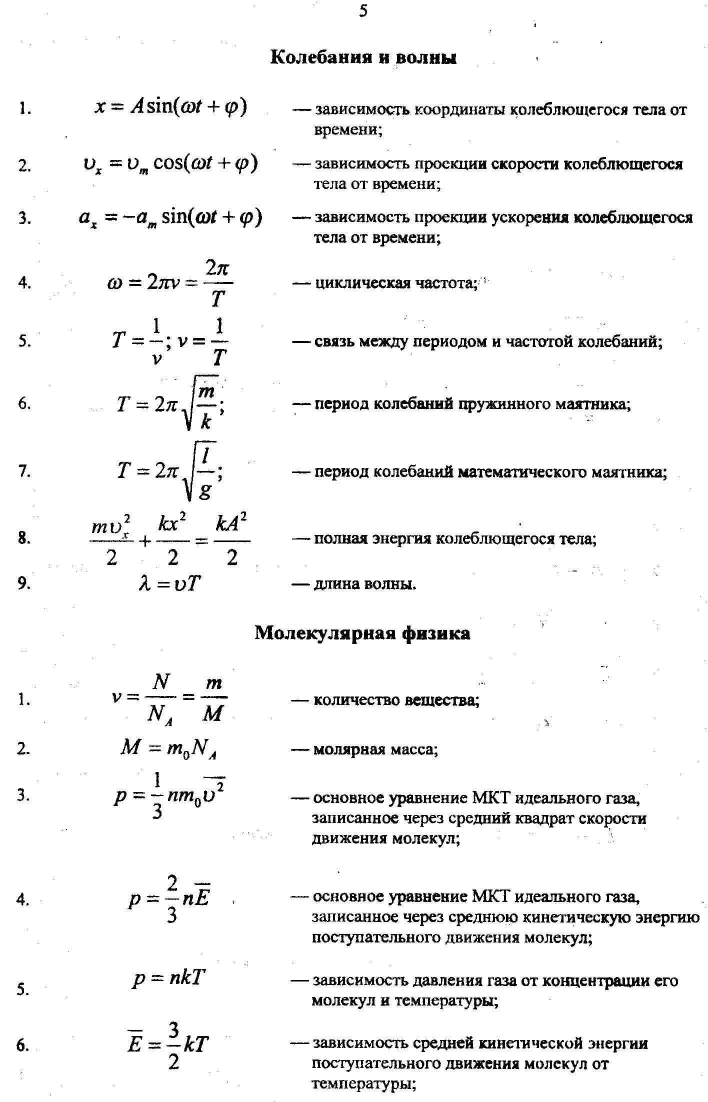 Основные формулы молекулярной физики и термодинамики шпаргалка  основные физические законы и формулы молекулярная физика