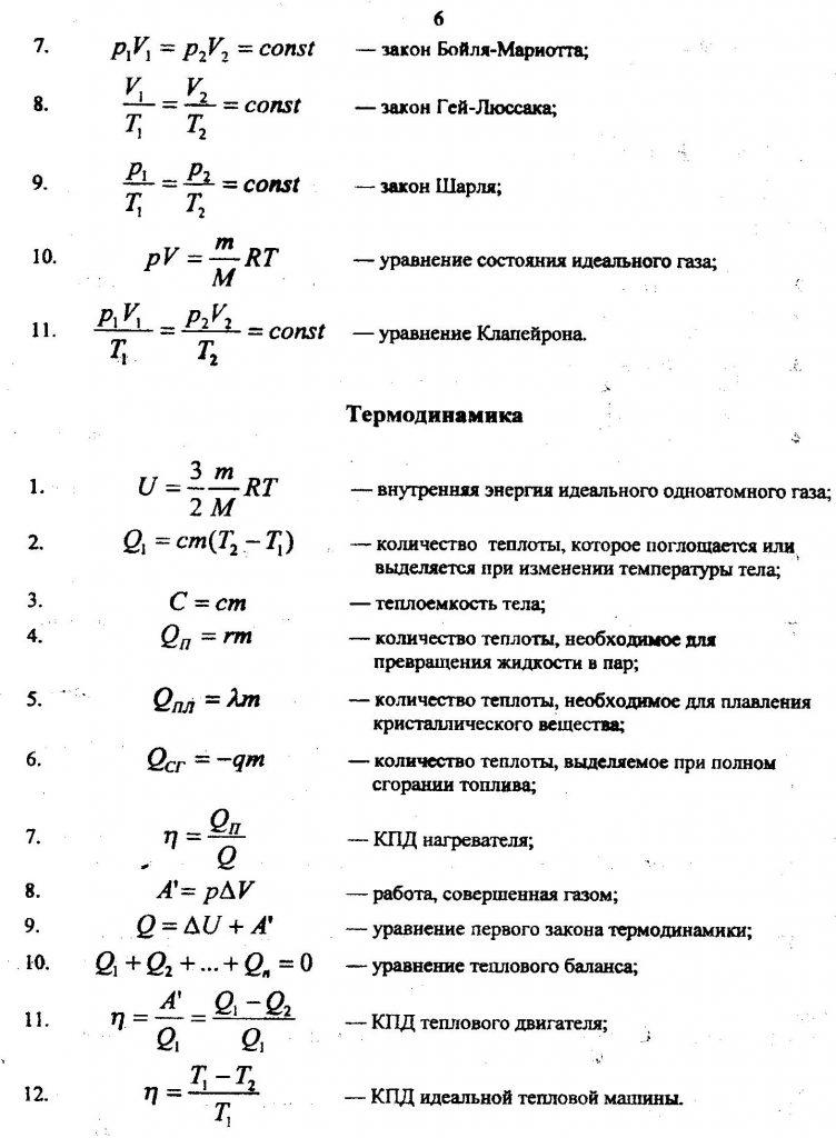 основные физические законы и формулы, термодинамика