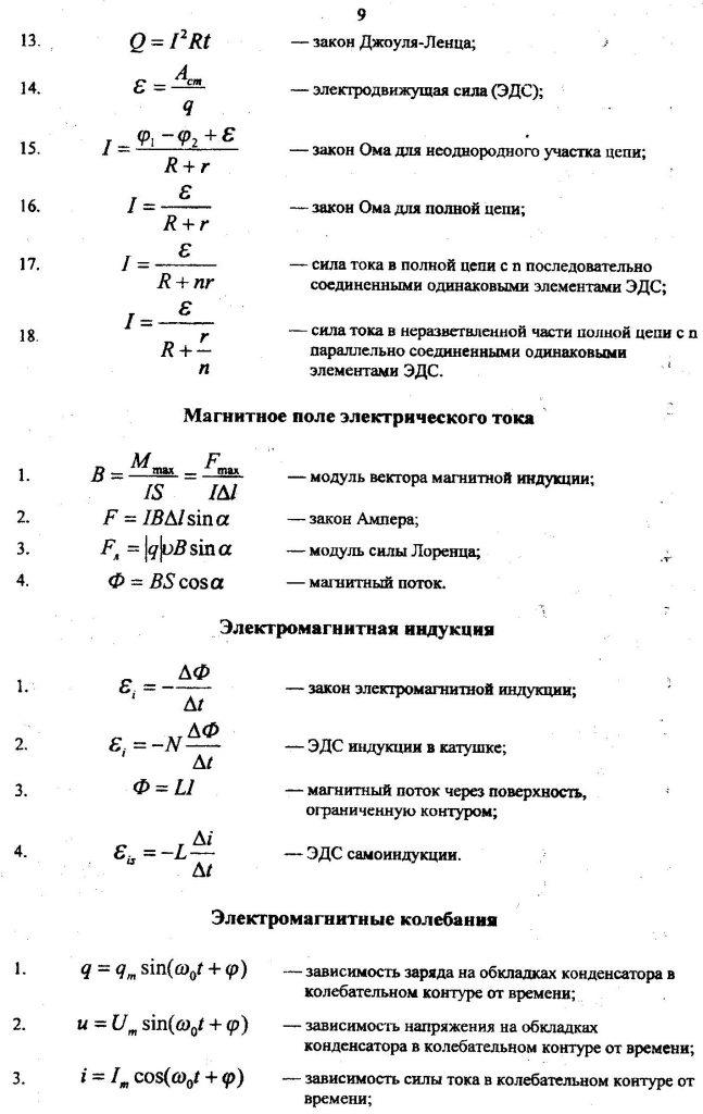 основные формулы по физике электричество